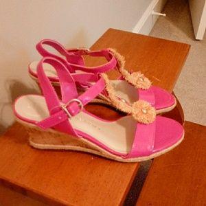 Etienne Aigner 5.5 Pink Cork Wedge Sandal